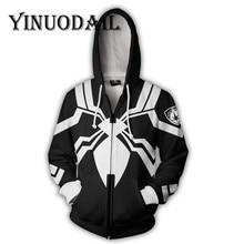Fans Wear Black Marvel Venom 3D Hoodies for Women & Men Long Sleeve Game Spiderman Cosplay Clothes 2018 Sweat Homme