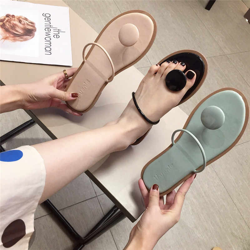 Bohemia Beach tong femme 2019women summer korean brief clip toe flipflop outdoor casual flat slides woman non-slip slippers cozy