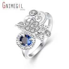 GNIMEGIL Brand Jewelry Silver Ring CZ Simulated Diamonds Jewelry Fashion Acessories Butterfly Ring Engagement Jewelry for Women