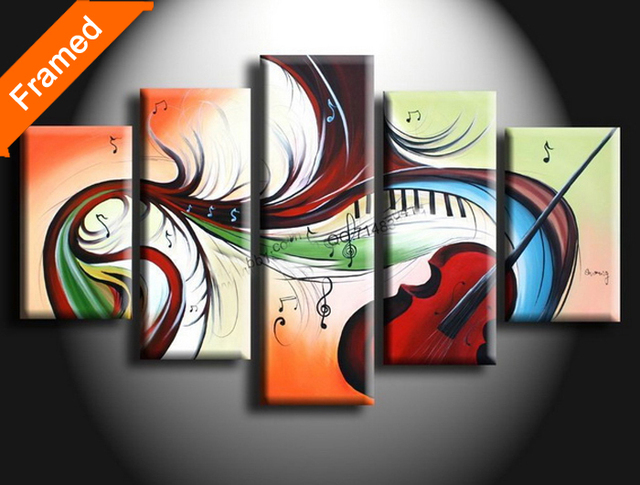 100% Hand painted oil painting five panels stretched ready to hang modern flower oil paintings for bedroom