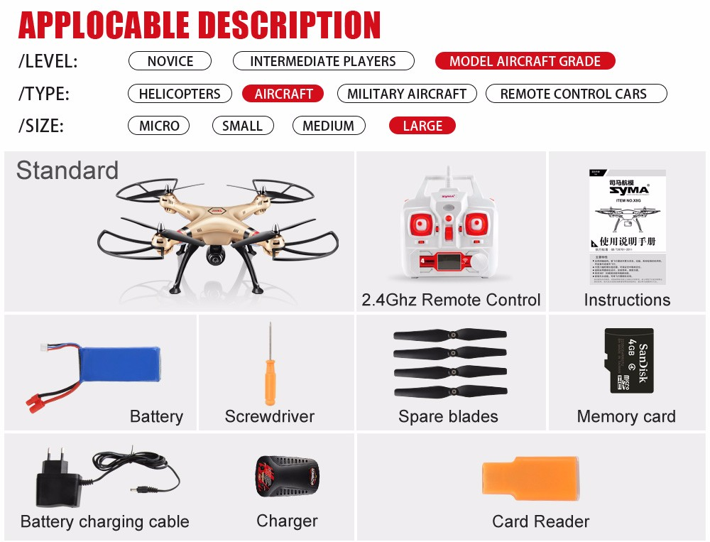 SYMA Professional UAV X8HG X8HW X8HC 2.4G 4CH RC Helicopter Drones 1080P 8MP HD Camera Quadcopter (SYMA X8C/X8W/ X8G Upgrade) 17