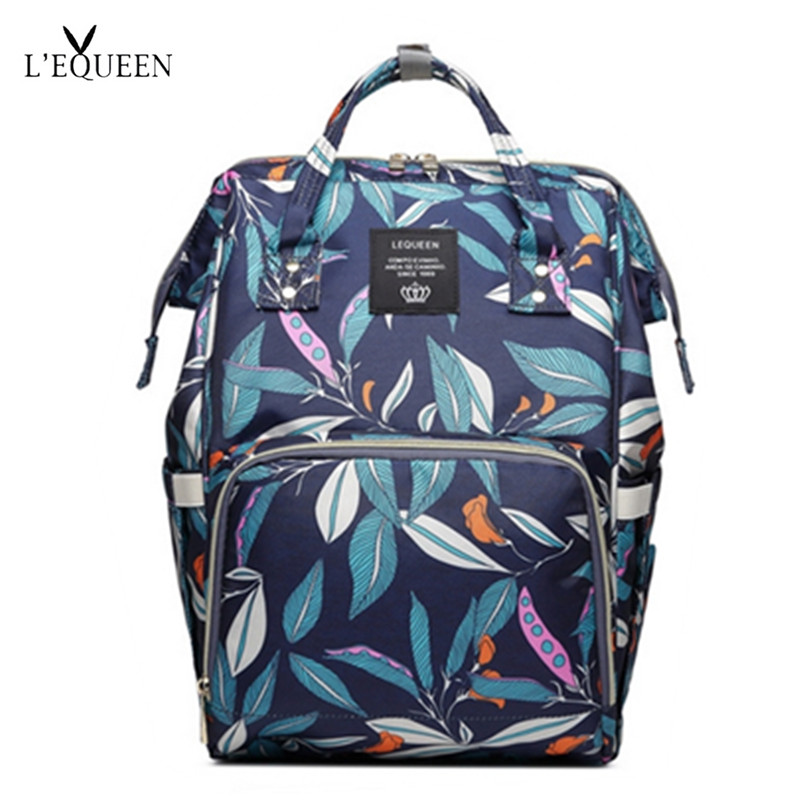 LEQUEEN Diaper Bag Plants Design Baby Care Large Capacity Mom Backpack Maternity Backpack Waterproof Nappy Bag Travel Stroller
