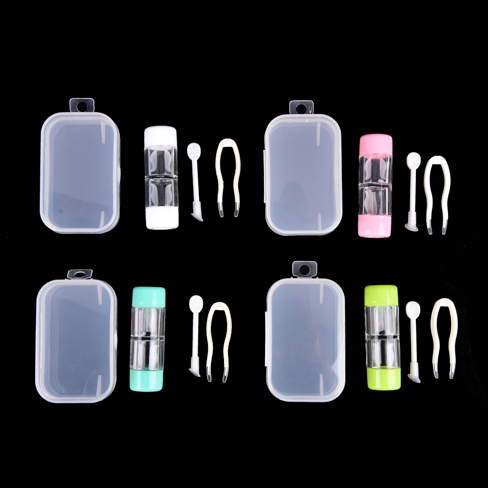 3Pcs/set Portable Contact Lens Small Lovely Travel Eyewear Case Bag Box Container Holder Random Color