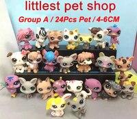 24 Pçs/lote LPS-Pouco Pet Shop Mini Dog Cat Animais Figuras de Ação Bonecas Bonitos Dos Desenhos Animados Brinquedos Para As Crianças Melhor Presente de natal