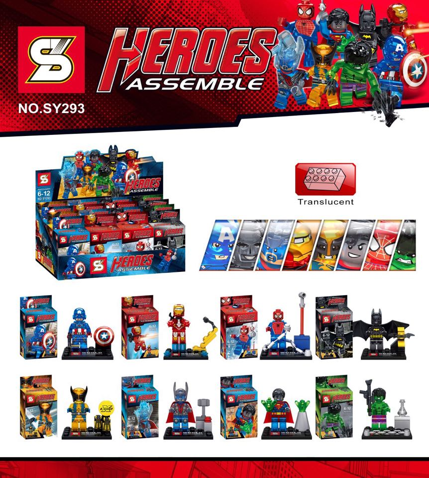 Super Heroes Spiderman Captain America Iron Man Building Blocks Toys Gifts Games