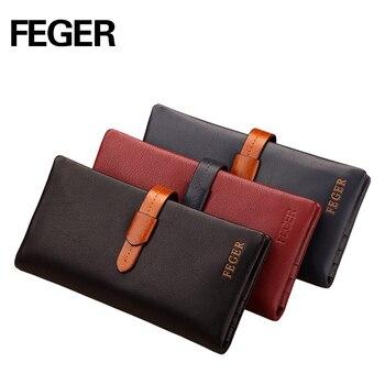 FEGER marque multicolore hommes long type hasp portefeuille en cuir véritable mince pochette grand volume
