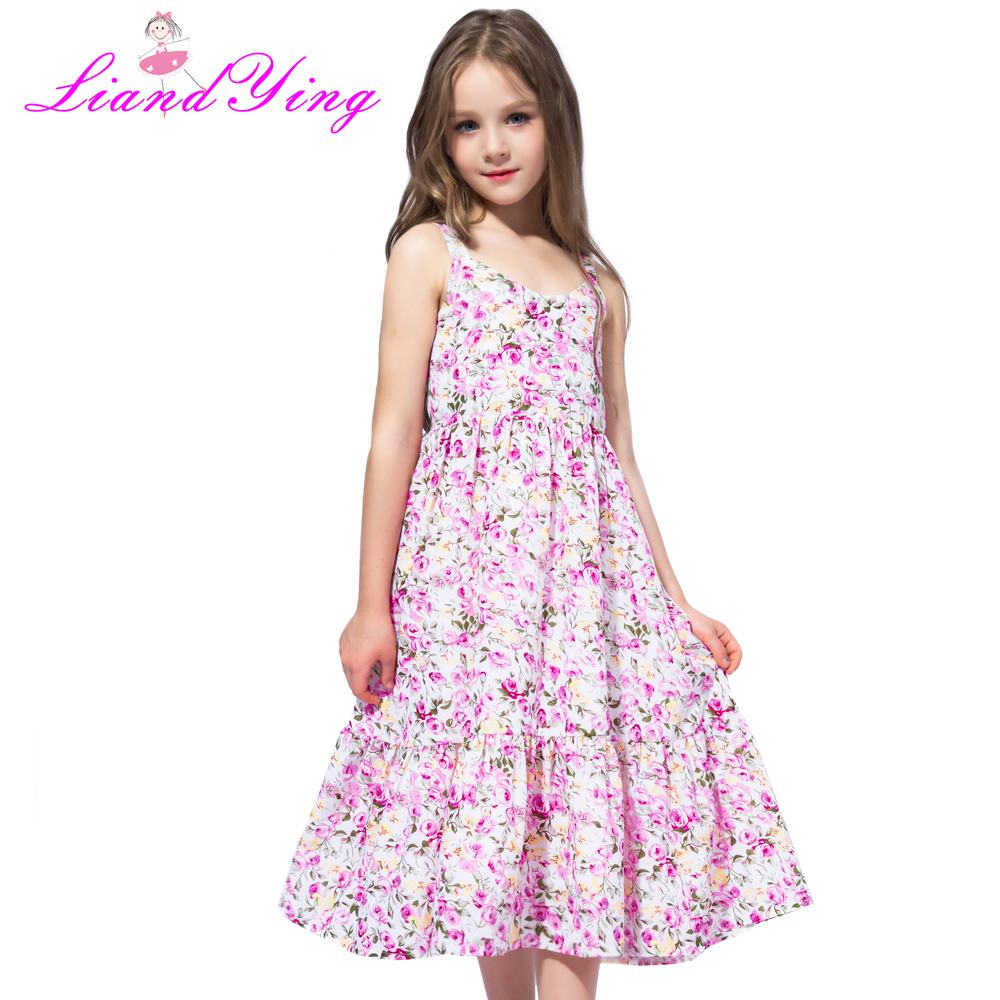 Flower     Girl     Dress   Pink Floral Chiffon Maxi   dress   2018 Summer Princess Wedding Party Gowns Kids Clothes Size 2-12