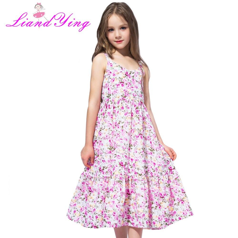 Flower     Girl     Dress   Pink Floral Chiffon Maxi   dress   2018 Summer Princess Wedding Party Gowns Kids Clothes Size 2-12