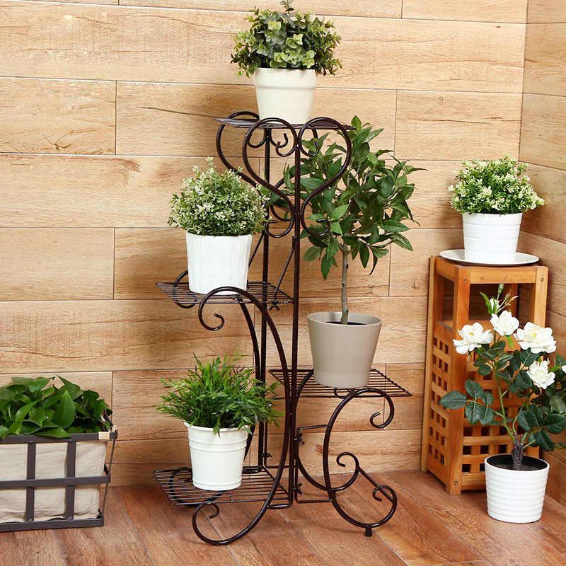 da9702405b8d ... 4 Tier Plant Pot Stand Rack Metal Browse Flower Pots Trays Holder  Garden Indoor Outdoor Plants ...