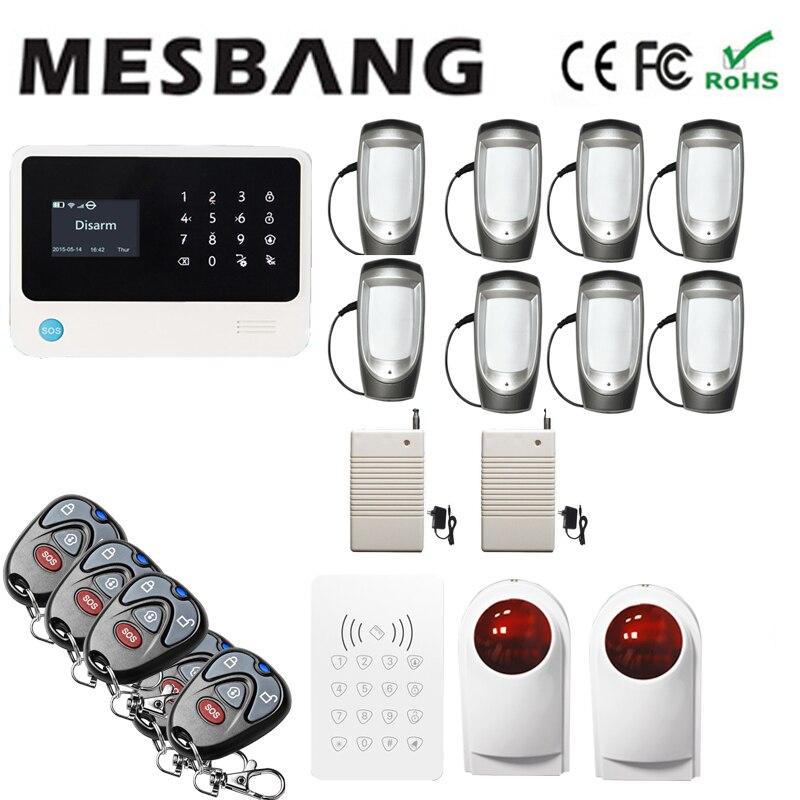 Système d'alarme sans fil wifi gsm avec capteur sans fil extérieur anglais, français, russe, espagnol, néerlandais et APP RFID livraison gratuite