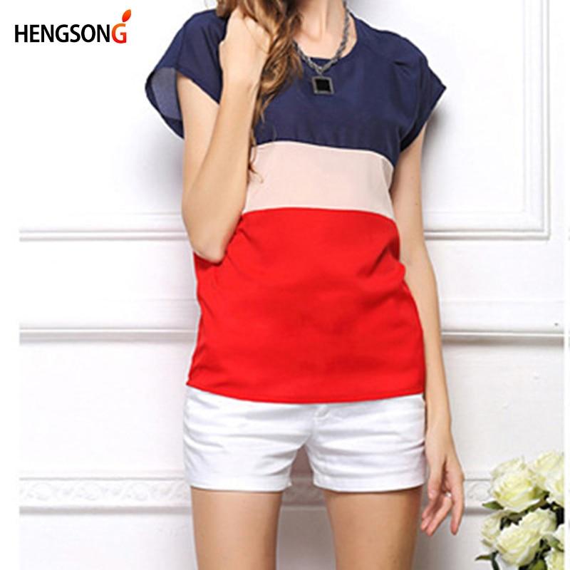 Three Color Spliced Chiffon Blouse Shirts Women Tees Tops Summer O-neck Short Sleeve Shirt For Women Fashion Chiffon Shirt Blusa