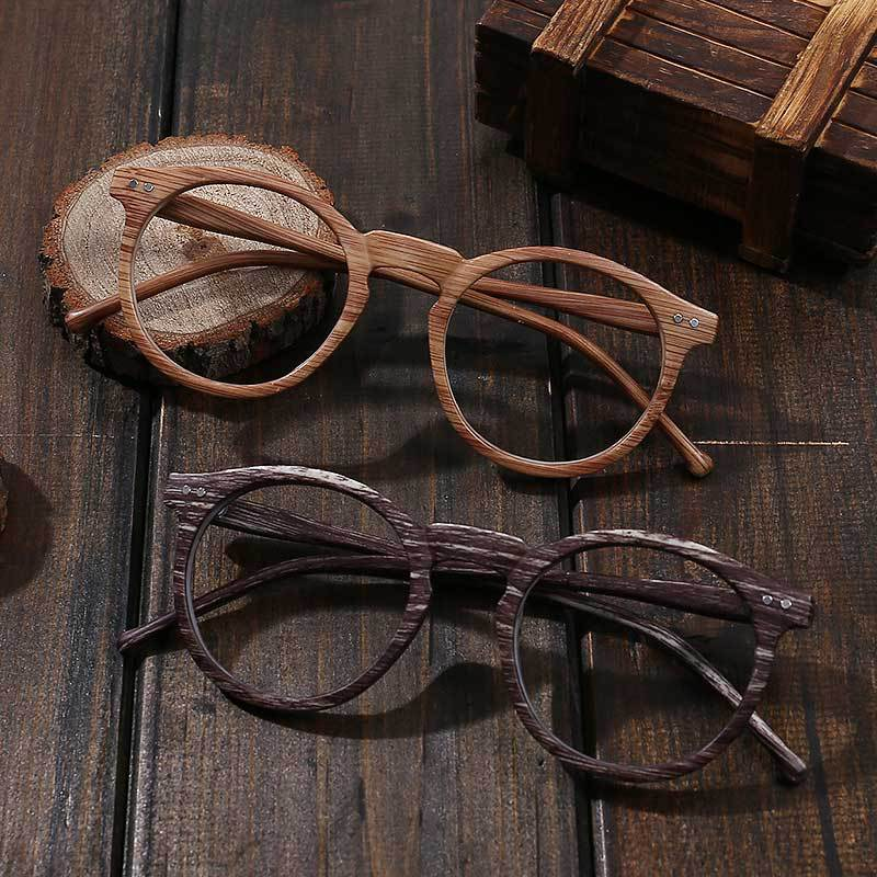 Clear Lens Round Retro Wood Grain Color Glasses Myopia Frame PC Decoration Vintage Optical Glasses Frame For Men And Women