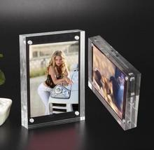 50pcs freeshipping --5inch(Thickness:8mm+8mm) Transparent Acrylic photo picture frame with Magnet