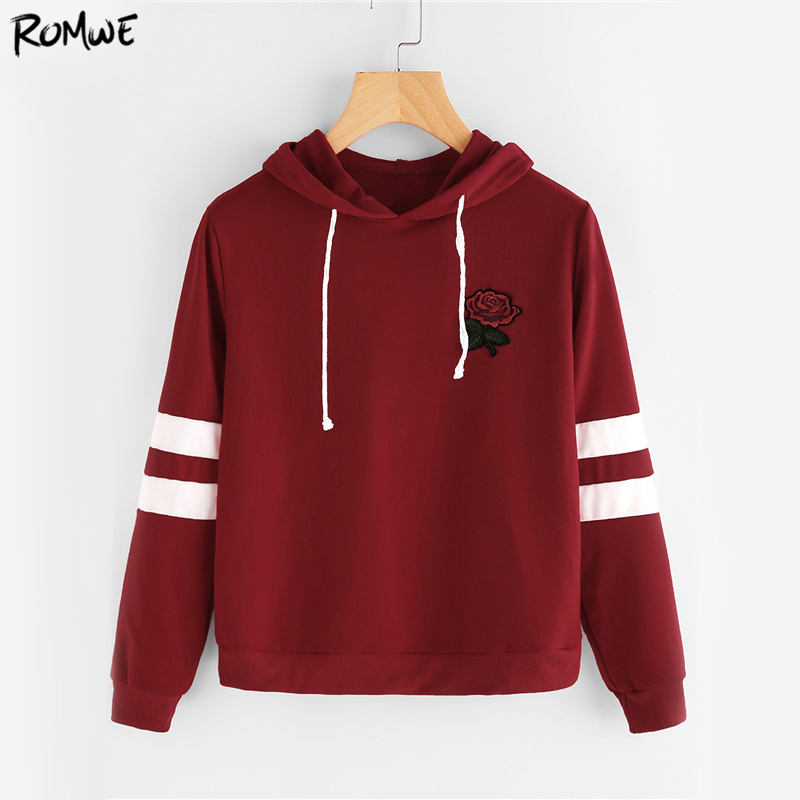 ROMWE Varsity Striped Casual Hoodie Women Burgundy Rose Patch Hooded Sweatshirt  Fall Embroidery Long Sleeve Basic Hoodies
