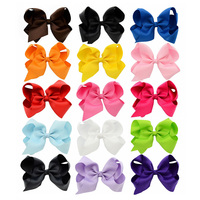 15pcs/lot 6 Inch Grosgrain Ribbon Boutique Large Solid Bows With Clip For Hairpins Kids Girl Hair Accessories