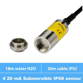 submersible water depth pressure sensor, measure water level, 4 20 mA signal, 18m H2O water range, 20m PU cable, IP68 protection