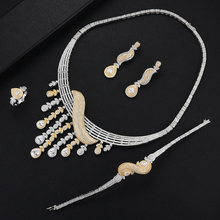 все цены на SisCathy New Women Bridal Wedding Jewelry Sets Luxury Cubic Zirconia Flower Necklace Bracelet Drop Earrings Ring Jewelry Sets онлайн