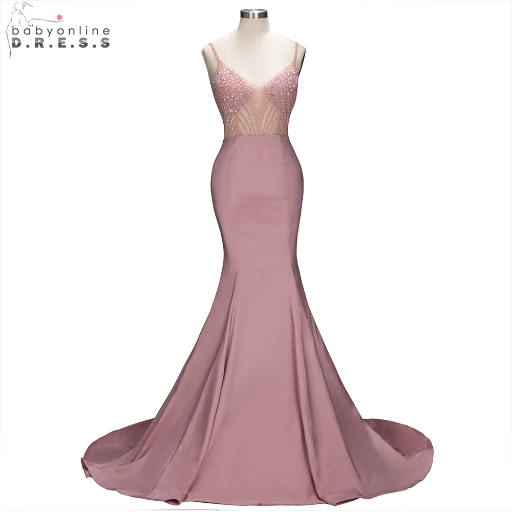 Babyonline Stylish Beading Mermaid Evening Dresses Long 2019 Sexy Backless Formal Evening Gowns robe de soiree Custom Made