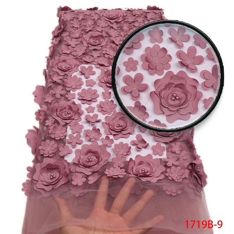 Africain Tulle tissu 3d 2019 dernière lourde française Rose fleur nigérian mariage perlé maille Net fleurs dentelle tissu AMY1719B 2-in Dentelle from Maison & Animalerie    1