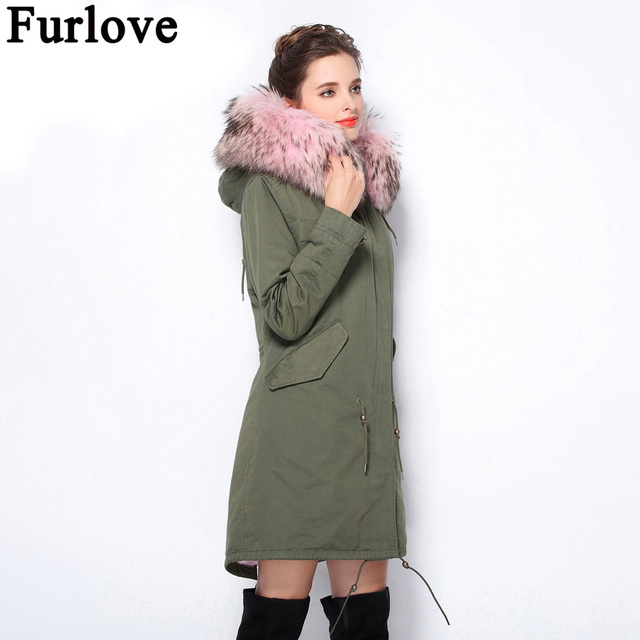 6dc10a1f5abd2 Furlove Women Winter Coat Army Green Thick Parkas Plus Size Real Raccoon Fur  Collar Hooded Artificial Fur Lining Winter Jacket
