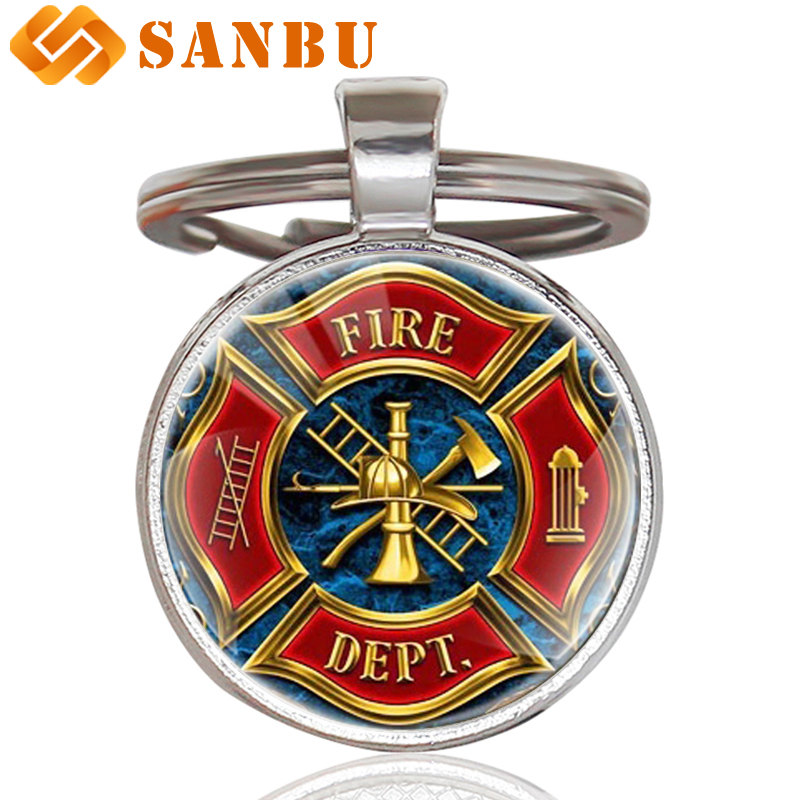Fashion Fire Fighters Control Keychain Clasic Fire Dept. Art Glass Cabochon Key Chain