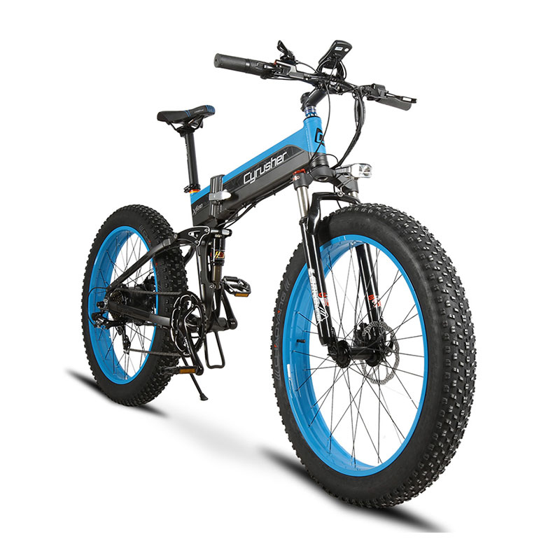 Cyrusher XF690 Folding Electric Fat Bike 500W 48V 10AH Li-Battery Full Suspension 7 Speeds 26 4.0 Fat Tyre Mountain Snow ebike