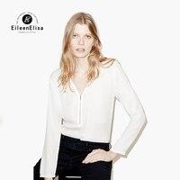 Eileen Elisa Front Zipper Blouse V Neck Ladies Elegant Top Slim New Casual Women S Long