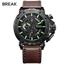 ROMPER Los Hombres de la Marca de Lujo Correa de Cuero de Moda Casual Clásico Cronógrafo Deporte Relojes de pulsera de Cuarzo de Negocios Hombre Reloj Militar
