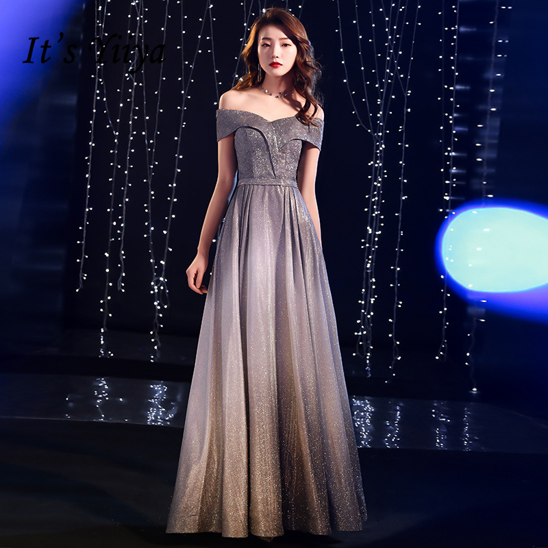 It's YiiYa   Evening     Dresses   Sexy Boat Neck Backless Long Formal   Dress   Simple A-line Lace Up Back Short Sleeves Party Gowns E392