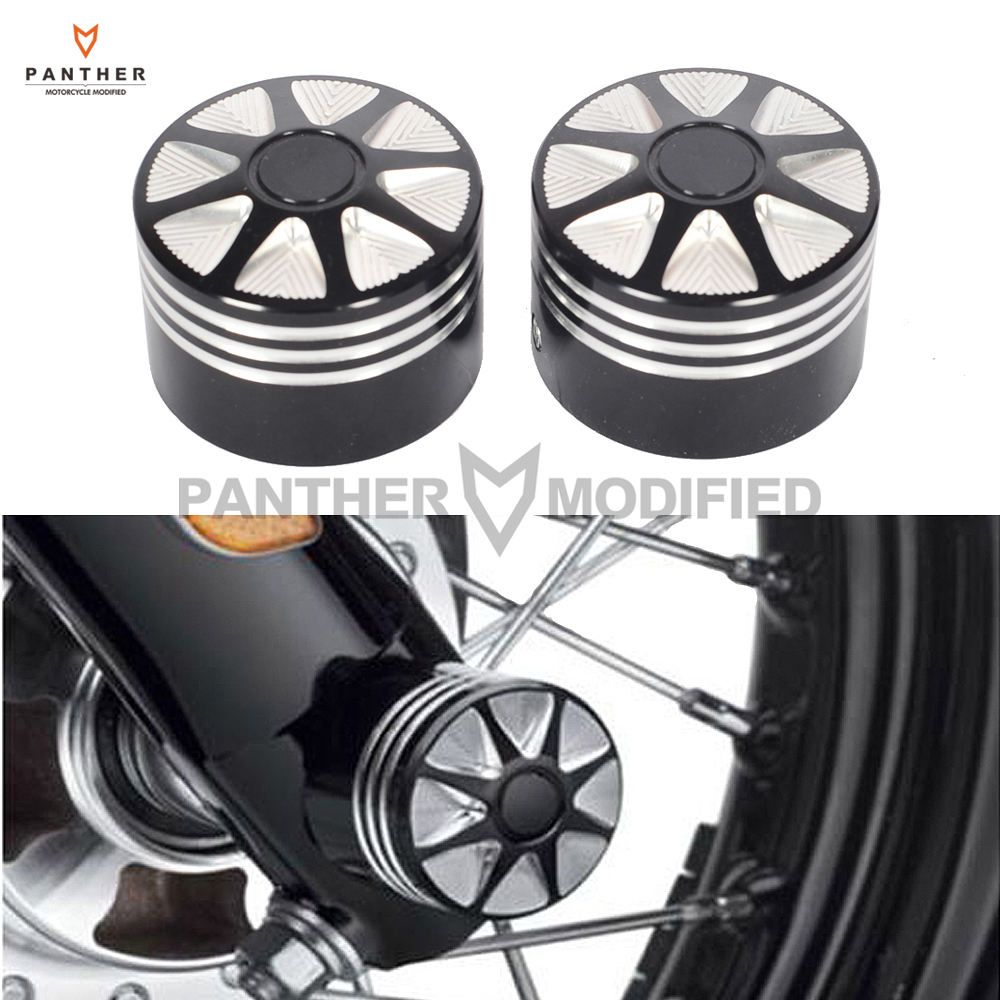 Black CNC Edge Cut Motorcycle Front Axle Nut Cover Bolt Kit case for Harley Touring Softail FLTR Dyna XL1200 883