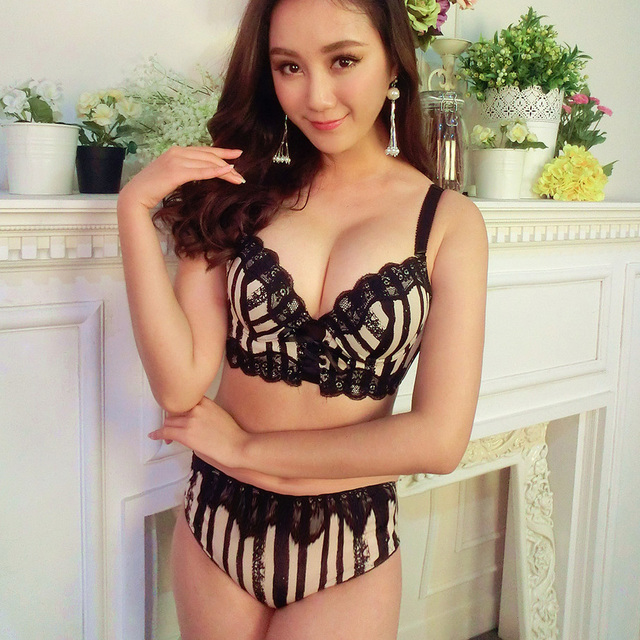 22c7e47f56e Japanese stripe lace sexy junior tops women bra set young girls pad thicken  side gather young