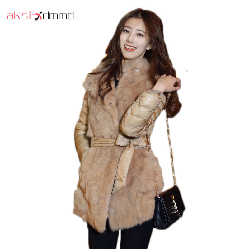 winter jacket women 2015 Korea style fashion slim rabbit fur patchwork women's down jacket DX179 down the rabbit hole