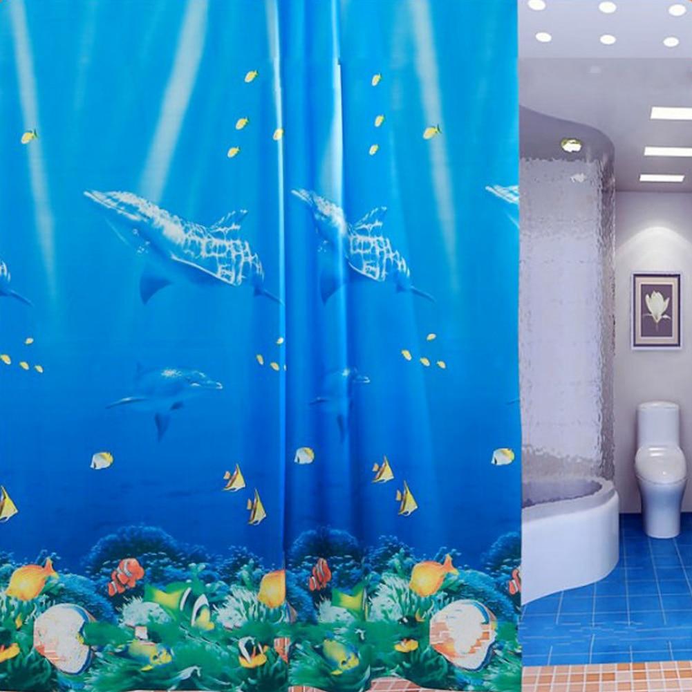 Ocean themed shower curtains - 180 180cm Tropical Beach Dolphin Sea Fish Shower Curtain Blue Ocean Theme With Hooks Ring