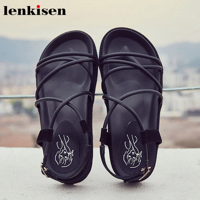 Lenkisen vintage PU flock peep toe thick bottom 5cm med heels superstar buckle straps gladiator beauty lady women sandals L69