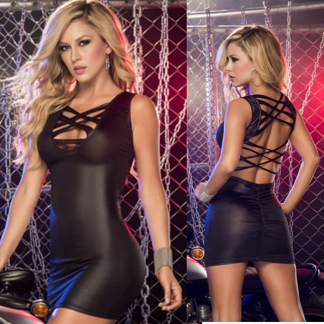 96df0444a8e2 Hot Sexy Queen Nightclub Clubwear PVC Sleeveless Bandage Mini Dress Black  Pink Faux Leather Bodycon Dress