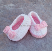 Baby Girl Crochet Ballerina Slippers Baby Girl Shoes Baby Slippers Pink White Bow Photo Prop Baby