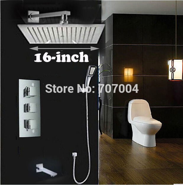 3 Ways Thermostatic Mixer Valve Wall Mount Rainfall Bath Shower Mixer Taps 16 inch Ultrathin Showerhead