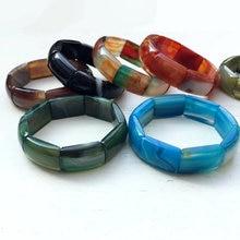 Bracelet en pierre naturelle du Botswana pour femmes, perles d'agates à rayures cornaline, extensible, 7.5 pouces