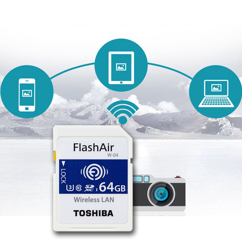 TOSHIBA FlashAir W-04 WiFi SD Card 16GB 32GB SDHC 64GB SDXC Class10 U3  FlashAir W-04 Memory Card Flash Card For Digital Camera