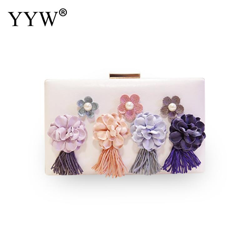 Ladies Tassels Clutch Bag With Chain Flower Wedding Party Handbag Vintage Wallet Purse Elegant Clutch Female 2019 Sac Main Femme in Top Handle Bags from Luggage Bags