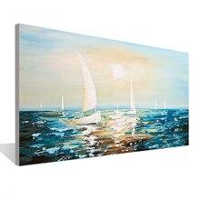 Морской пейзаж парусная лодка Живопись Нож холст живопись гостиная столовая офис стены искусство Спальня ручная роспись маслом