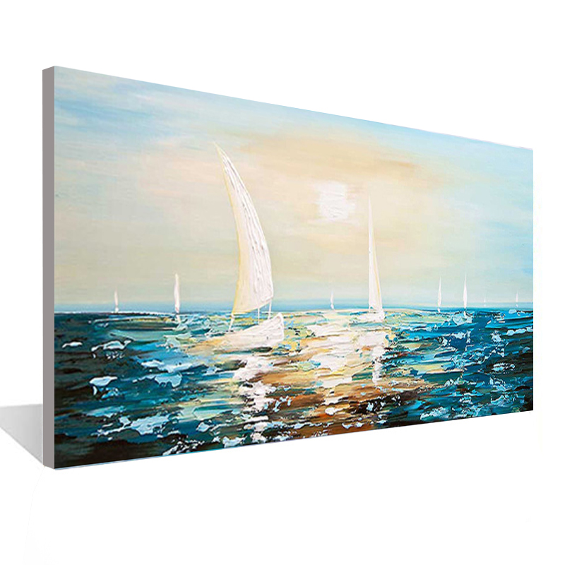 Seascape Sailing <font><b>Boat</b></font> Painting <font><b>Knife</b></font> Canvas Painting Living Room Dining Room Office Wall Art Bedroom Hand-painted Oil Painting image