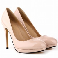 Smynlk 0004a Classics Women Heels 2015 Womens Beige Casual Patent Leather Shoes Thin Heel Spring Autumn