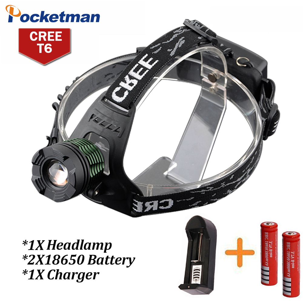 3800Lumen CREE XM-L T6 LED Headlamp Headlight Camping Hunting Head Light Lamp 3 Modes +2*18650 Battery + Charger