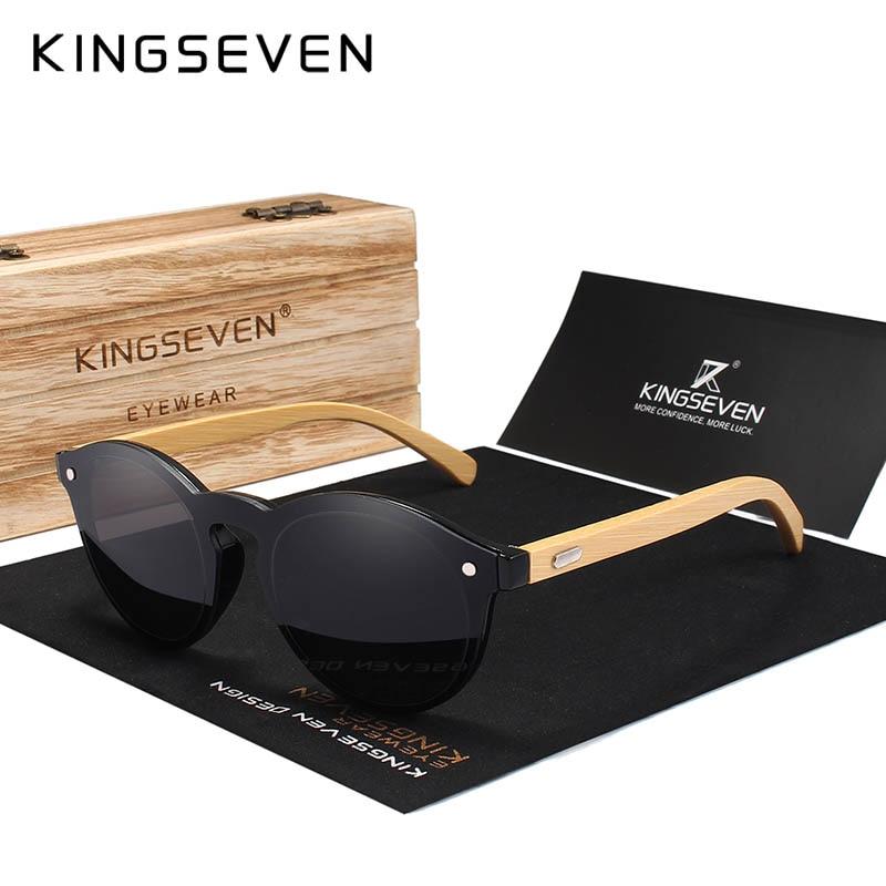 KINGSEVEN 2018 Natural bamboo Sunglasses UV protection Glasses Wood Sun glasses Brand Design Sun Glasses With Wooden Case