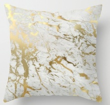 Hot Selling Pillow Gold Marble Inspired Beauty of Marble Luxury Printing Square Zippered Pillow Sham Personalized Pillowcase