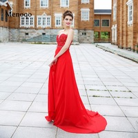 New Pageant Dress Red Chiffon Sexy Beaded A Line Sweetheart Neck Vestido de festa Long Evening Dresses 2017 Real Sample