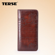 TERSE_Hot selling men long wallet top quality real leather handmade purse customize logo engraving service drop shipping