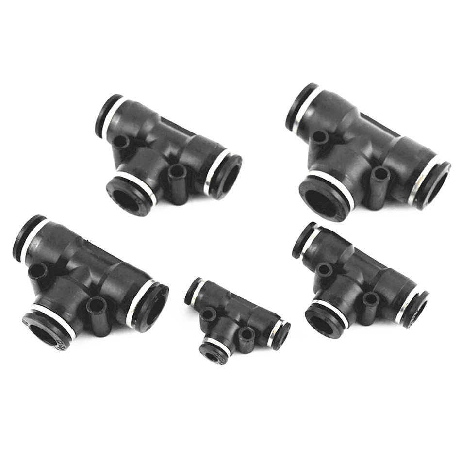 3 Way T shaped Tee Pneumatic 10mm 8mm 12mm 6mm 4mm OD Hose Tube Push In Air Gas Fitting Quick Fittings Connector Adapters 12mm x 10mm t joint plastic one touch tube connector quick coupler