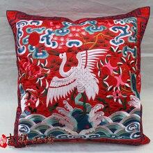 New1pair/2 uds negro y rojo chino hecho a mano étnico Vintage funda de cojín bordada